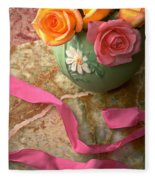 Green Vase With Roses Fleece Blanket