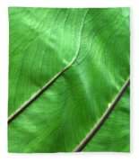 Green Veiny Leaf 2 Fleece Blanket