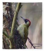 Green Woodpecker Fleece Blanket