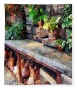 Greenhouse With Flowerpots Fleece Blanket