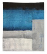 Straight Forward - Teal And Grey Abstract Art Painting Fleece Blanket