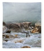 Grey Wolf Jumping Over A Mountain Stream Fleece Blanket