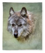 Grey Wolf Portrait Fleece Blanket