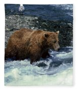 Grizzly Bear Fishing Fleece Blanket