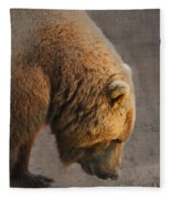 Grizzly Hanging Head Fleece Blanket
