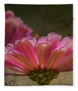 Grungey Pink Zinnia Delight Fleece Blanket