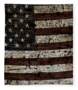 Grungy Wooden Textured Usa Flag2 Fleece Blanket