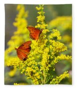 Gulf Fritilaries On Golden Rod Fleece Blanket