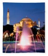 Hagia Sophia At Night Fleece Blanket