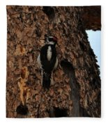 Hairy Woodpecker On Pine Tree Fleece Blanket
