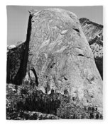 Half Dome Black And White Fleece Blanket