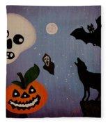Halloween Night Original Acrylic Painting Placemat Fleece Blanket