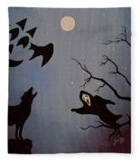 Halloween Night Party Original Painting Placemat Doormat Fleece Blanket