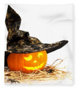 Halloween Pumpkin With Witches Hat Fleece Blanket