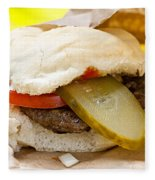 Hamburger With Pickle And Tomato Fleece Blanket