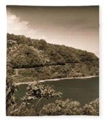Hana Highway Sepia Fleece Blanket