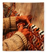 Hands Of The Carpet Weaver Fleece Blanket