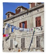 Hanging Out To Dry In Rovinj Fleece Blanket