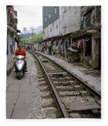 Hanoi Train Tracks Fleece Blanket