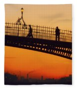Hapenny Bridge, Dublin, Co Dublin Fleece Blanket