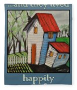 Happily Ever After White Picket Fleece Blanket