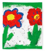Happy Colorful Flowers Fleece Blanket