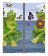 Happy Frogs - Gently Cross Your Eyes And Focus On The Middle Image Fleece Blanket