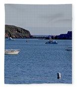 Harbor On The California Coast Fleece Blanket