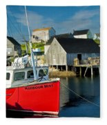 Harbour Mist In Peggy's Cove No 103 Fleece Blanket