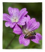 Hardy Geranium And Honey Bee Fleece Blanket