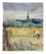 Harvest Field At Stratford Upon Avon Fleece Blanket