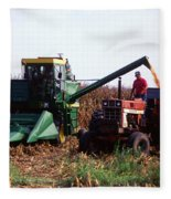 Harvesting Corn Fleece Blanket