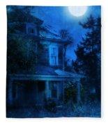 Haunted House Full Moon Fleece Blanket