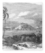 Havana, Cuba, 1851. /na View Of The Harbor And Fort Of Atares. Wood Engraving, English, 1851 Fleece Blanket