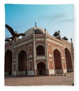 Hawk Flying Next To Humayun Tomb Delhi Fleece Blanket