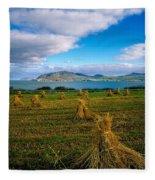 Hay Bales In A Field, Ireland Fleece Blanket