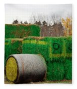 Hay Tractor Fleece Blanket