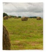Haybales In Field On Stormy Day Fleece Blanket