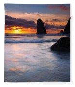 Haystack Sunset Fleece Blanket