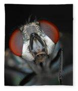 Head Of Green Blow Fly Fleece Blanket