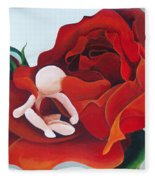 Healing Painting Baby Sitting In A Rose Fleece Blanket