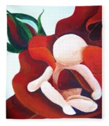 Healing Painting Baby Sitting In A Rose Detail Fleece Blanket