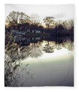 Hearns Pond Reflection Fleece Blanket