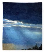 Heaven Opening To Let Out The Sun Painterly Style Fleece Blanket