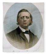 Henry Ward Beecher (1813-1887). American Clergyman. At Age 50: Steel Engraving, 19th Century Fleece Blanket