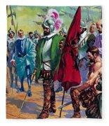 Hernando Cortes Arriving In Mexico In 1519 Fleece Blanket