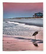 Heron And Beach House Fleece Blanket