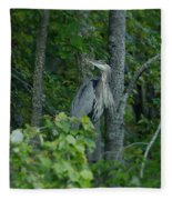 Heron On A Limb Fleece Blanket