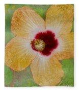 Hibiscus Gold And Red Fleece Blanket