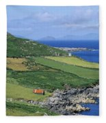 High Angle View Of A Coastline, Beara Fleece Blanket